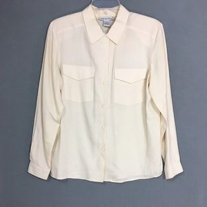 Vintage Cream 100% Silk Button-Up Blouse